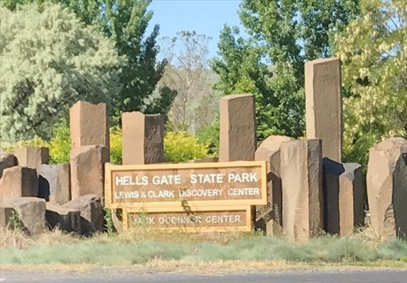 picture taken at the entrance of Hells Gate State Park